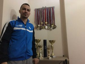 Petroj Sorin medals and trophies in apartment
