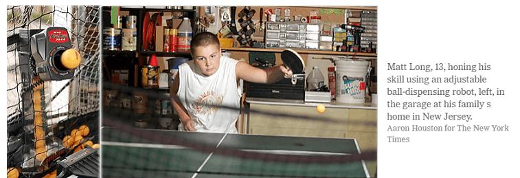 New York times post a kid play with top ping pong robot Newgy Robo Pong