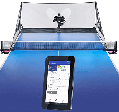 Best ping pong robots Butterfly Amicus Prime table and remote control blue color