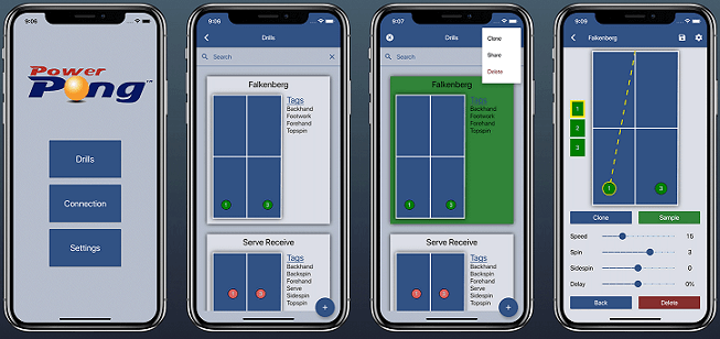 Power pong application options on tablet
