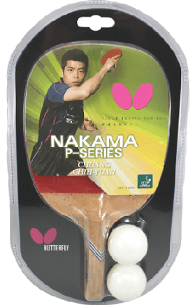 Best ping pong paddles under 100 Butterfly Nakama P6 racket with two plastic balls