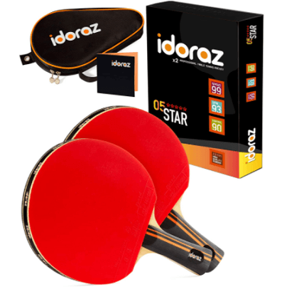 Best ping pong paddles under 100 Idoraz set of 2 professional paddles