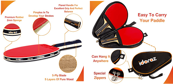 Ping pong paddles under 100 Idoraz set of 2 paddles with carrying case and rubber characteristics