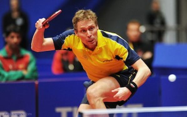 Jorgen Persson makes a topspin hit
