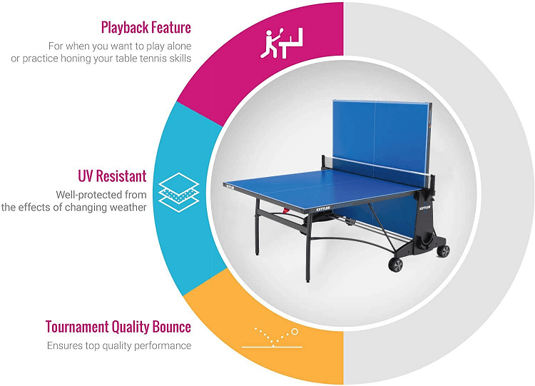 Kettler Cabo outdoor ping pong table the main characteristics