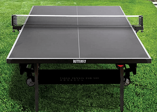 Best outdoor ping pong tables butterfly timo boll crossline table standing on the grass