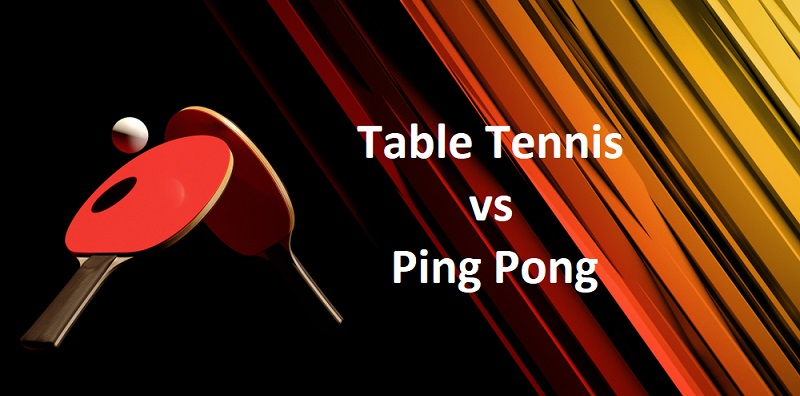Difference between table tennis and ping pong two rackets with ball and background