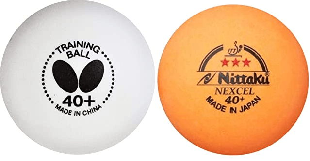 nittaku and butterfly balls white and orange of 40mm diameter