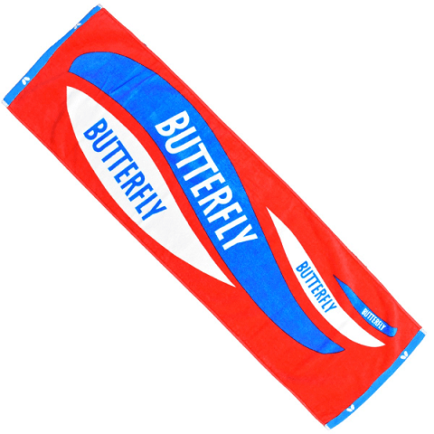 table tennis equipment butterfly red blue towel
