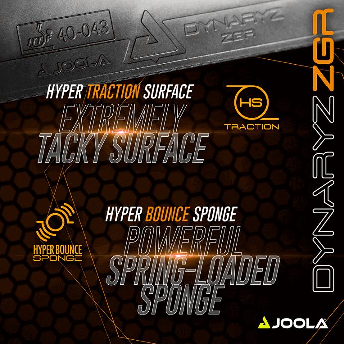 joola dynaryz zgr hyper bounce sponge and hyper traction rubber characteristic